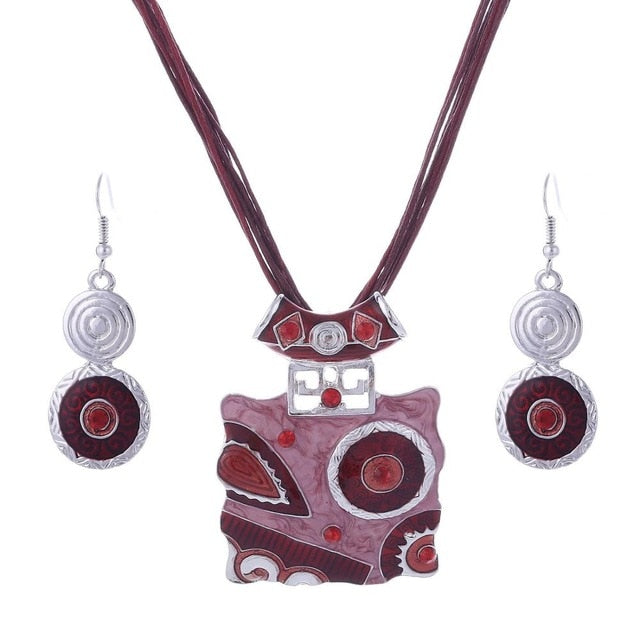 African  Leather Chain Jewelry Set