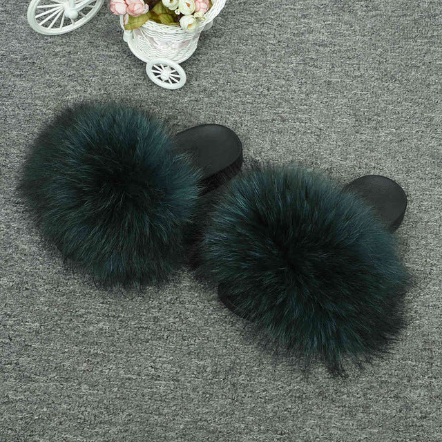 Furry Slides Soft Warm Big Fluffy Fur Shoes - Neshaí Fashion & More