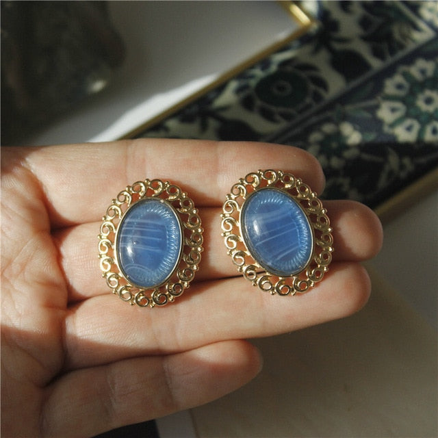 Blue Opal Marble Stone Round Big Stud Earrings