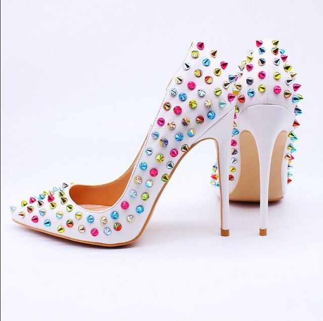 Hot Brand Rivets 12cm High Heel Pumps