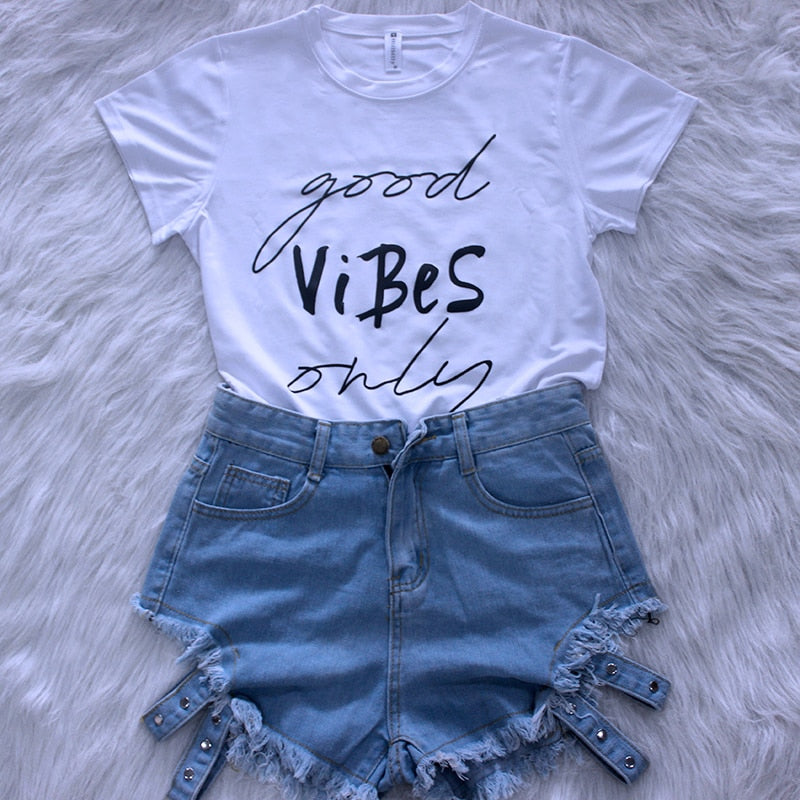 Only Good Vibes Tees Women Summer
