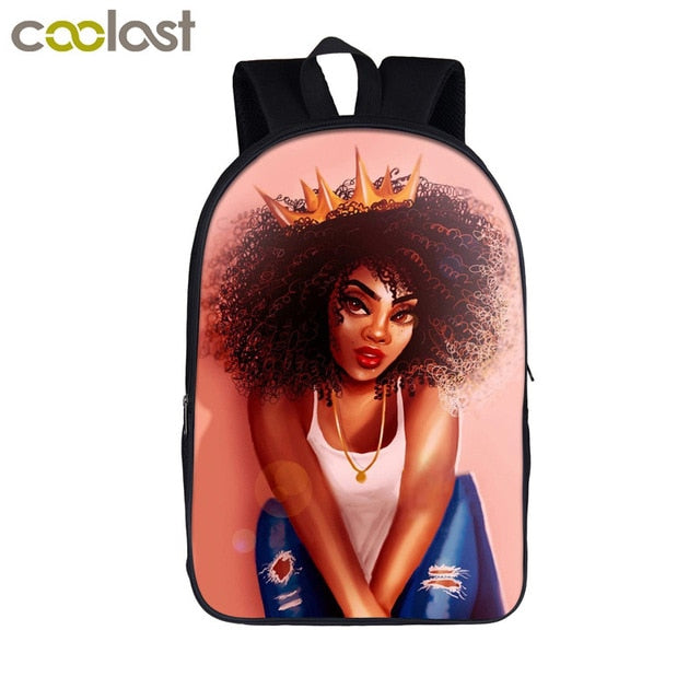 Brown Girl School Backpack Women Book Bag