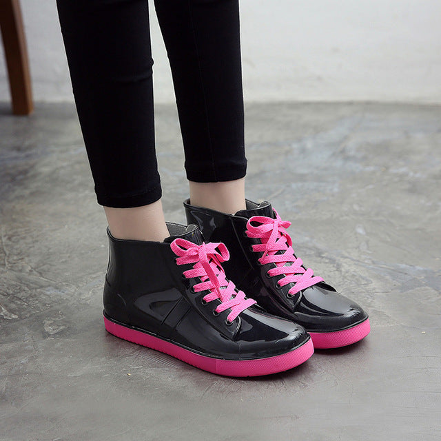 Platform Lace Up PU Waterproof ankle Mature Boots Woman Shoes