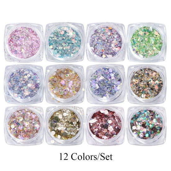 Mermaid 3D Hexagon Colorful glitter-12 - Neshaí Fashion & More