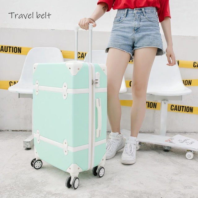 Retro Travel Bags 20 inch Cabin password access