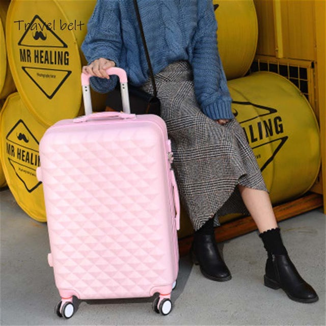 Textured Plaid Carry On Travel Bag