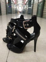 Ankle Strap Solid Belt Buckle Thin High Heels