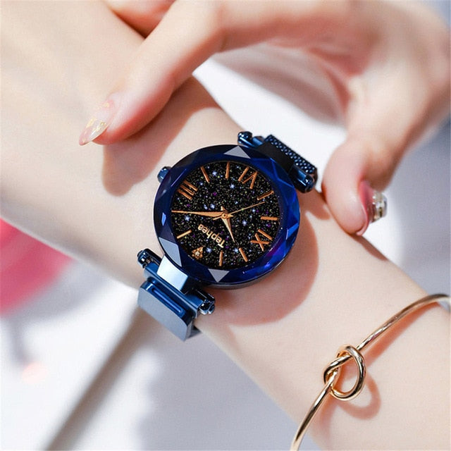 Magnetic Starry Sky Female Clock Quartz Wristwatch