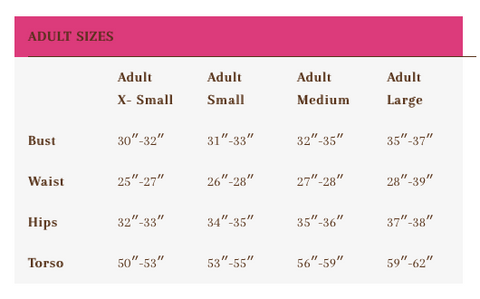 Foxy's leotards sizing chart