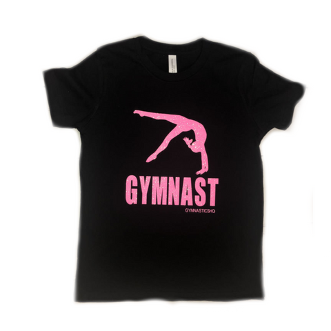Glittery Gymnast T-Shirt - Black with Pink Glitter