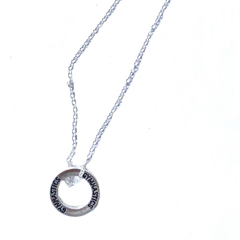 Gymnastics Circle Pendant Necklace with Silver Chain