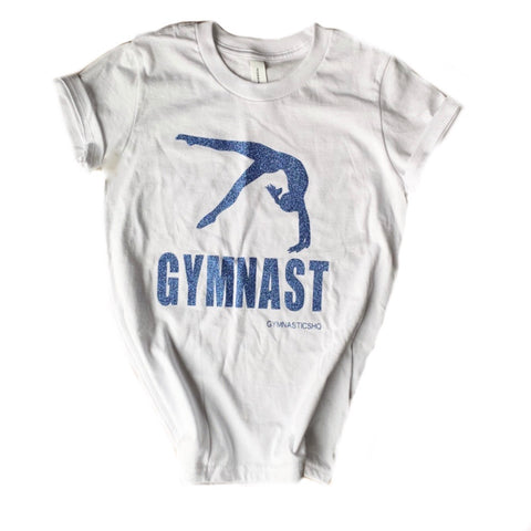 Glittery Gymnast T-Shirt - White with Blue Glitter
