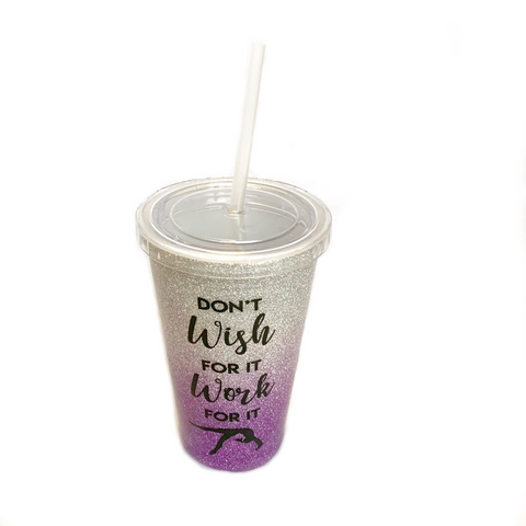 Glittery Gymnastics 16 OZ Tumbler - Purple & Silver with Black Writing