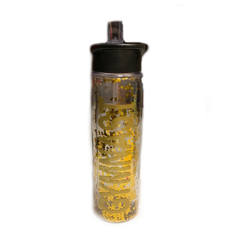Gymnast Glittery Water Bottle -Gold with Gold Letters