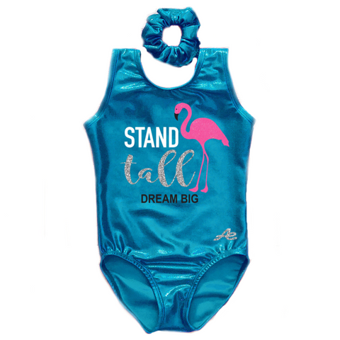 Flamingo Stand Tall Dream Big Gymnastics Leotard with Matching Scrunchie