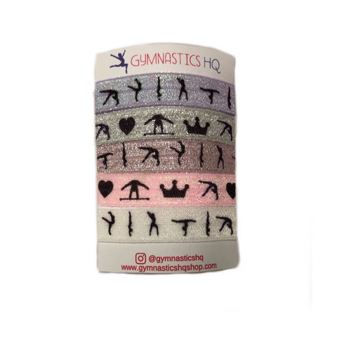 Glittery Gymnastics Hair Ties - Pastel (Set of 5)