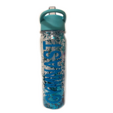 Gymnast Glittery Water Bottle - Blue with Blue Letters