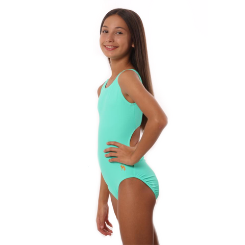 Mint Green Solid Gymnastics Leotard
