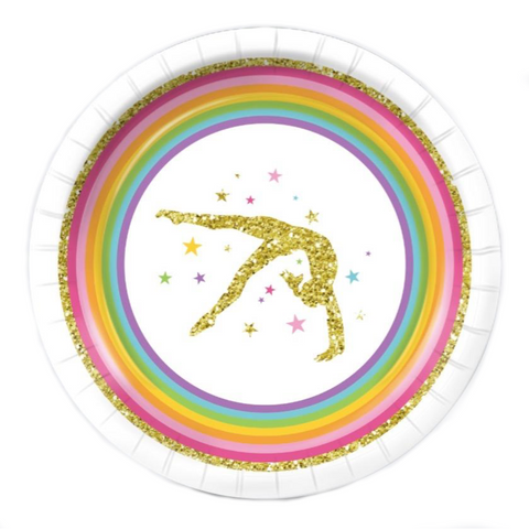 Gymnastics Birthday Party Supplies Pack (serves 8) - Rainbow Stripes