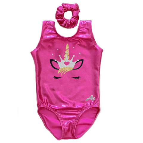 Unicorn Gymnastics Leotard with Matching Scrunchie