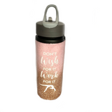 Glittery Gymnastics Sports Water Bottle - Light Pink & Gold