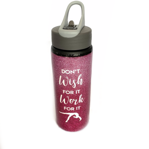 Glittery Gymnastics Sports Water Bottle - Pink