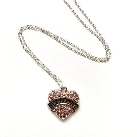 Silver Tone Gymnastics Heart Shaped Necklace - Pink