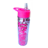Gymnast Glittery Water Bottle - Pink with Pink Letters
