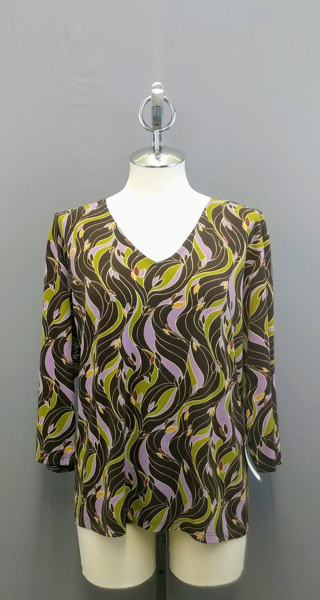 Only Nine Brown Purple Floral Print Woman Top 1X 3/4 Sleeve