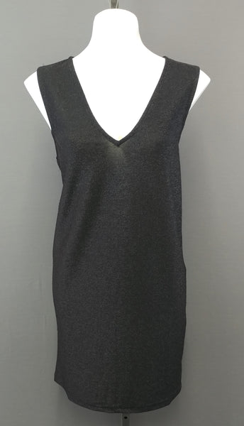 H & M Black Metallic Sleeveless Tunic Women Dress Size Small