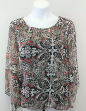 Load image into Gallery viewer, AB Studio Brown Cream Print Batwing Sleeve Women Shirt Size Large