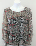 AB Studio Brown Cream Print Batwing Sleeve Women Shirt Size Large