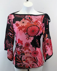 Heart Soul Pink Split Bell Sleeve Floral Print Women Junior Shirt Size X-Large