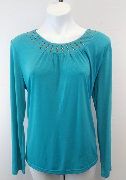 N Touch Blue Teal Studded Neck Women Shirt Size Large