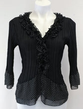 Load image into Gallery viewer, New Directions Women Shirt Size Petite Medium Black White Polka Dot Ruffle