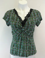 Elementz Women Shirt Size Petite Medium Black White Green Lace Neckline