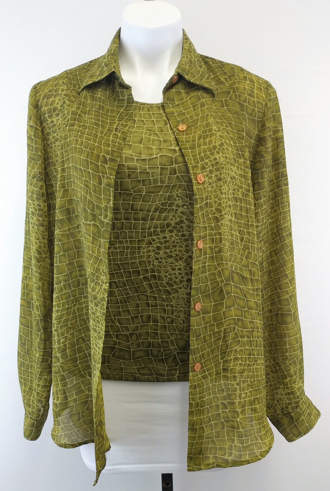 Impressions 2 Piece Women Shirt, Size Small, Green, polyester