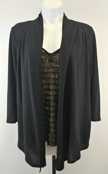 New Directions Women Shirt Cardigan, Size X-Large, Black, Gold, polyester, spandex