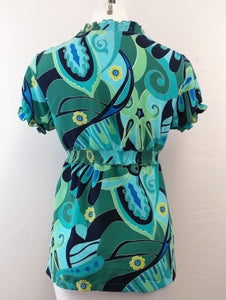 New Directions Women Shirt, Size Petite Medium, green, blue, polyester