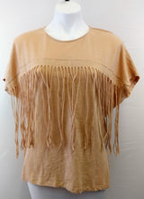 Load image into Gallery viewer, Tassels and Lace Women Shirt, Size Medium, beige, brown, cotton