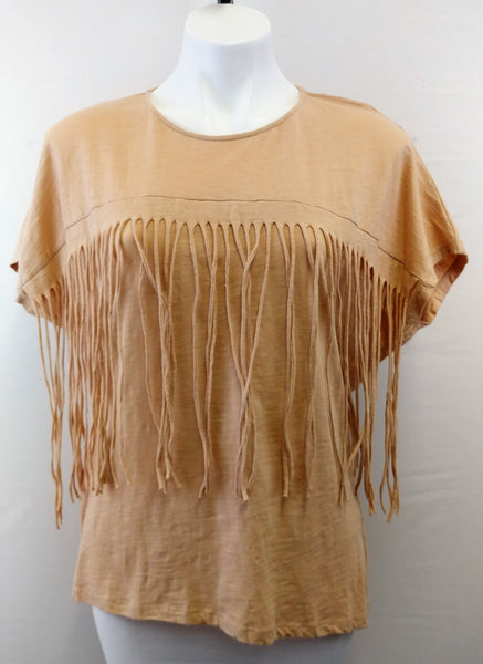 Tassels and Lace Women Shirt, Size Medium, beige, brown, cotton