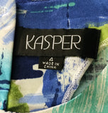 Kasper Women Shirt, Size 4, blue, white, green, polyester, spandex