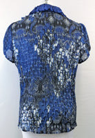Dressbarn Women Shirt, Size Large, blue, white, polyester