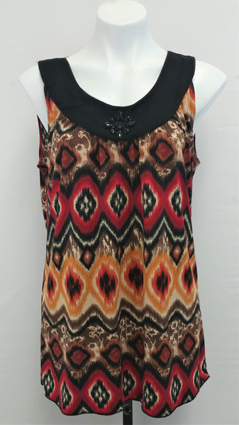 Saint Tropez West, Women Shirt, Size Large, red, black, brown, polyester spandex