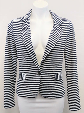 Mystree Women Blazer, Size Medium, dark blue, white, cotton, polyester