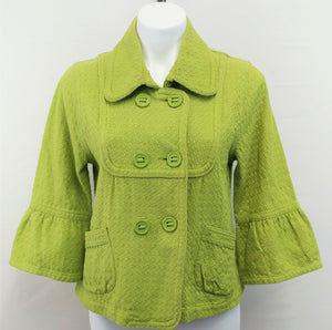 Ambition Women Blazer, Size Large, green, double breasted, cotton