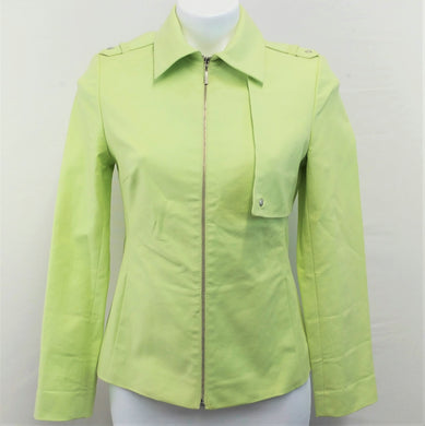 Episode Women Blazer, Size Small, green, zipper front, cotton blend