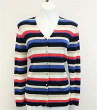 Load image into Gallery viewer, Valerie Stevens Women Cardigan, Size Large, blue, beige, pink, rayon, nylon