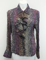 Allison Taylor Women Shirt, Size Large, purple, black floral, polyester