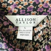 Load image into Gallery viewer, Allison Taylor Women Shirt, Size Large, purple, black floral, polyester